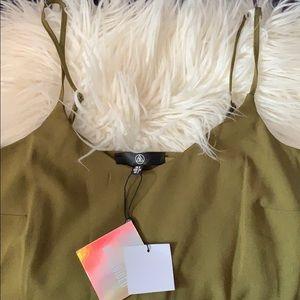 Khaki cami crepe shift dress
